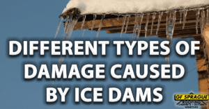 """""""Different Types of damaged caused by of Ice Dams"""" on top of a roof with an ice dam and snow."""