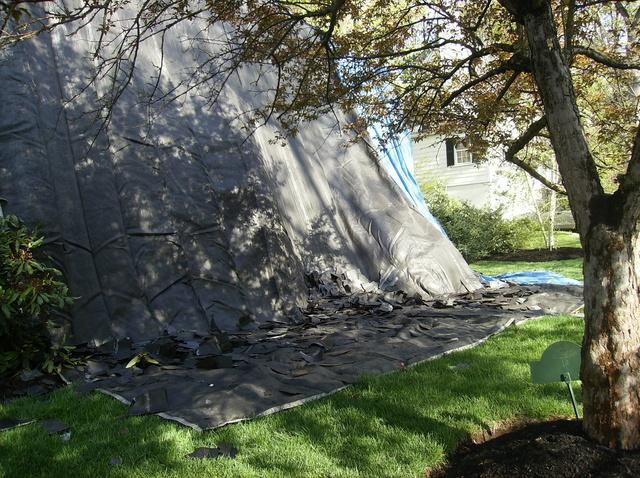 The debris is neatly piled at the bottom of the tarp, making cleanup quick, easy, and most importantly ensuring nothing is missed during cleanup.
