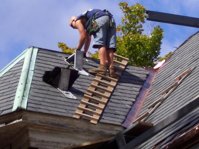 Our crew doesn't just walk across your slate roof, they make sure they go up and down your roof with the proper safety precautions.