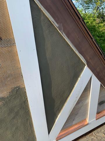 Using copper flashing to hold up stucco siding.