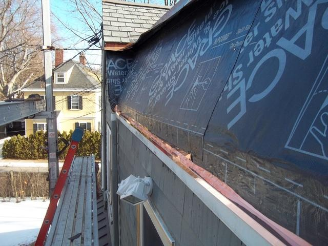 Before installing the gutter, our crew applies ice & water shield. This will solve many of the issues the customer experienced in the past, as this will prevent water from leaking in behind the new gutter.