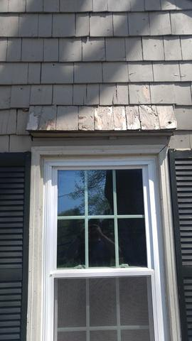 The overhang above this window needs to be replaced, as you can see the exterior damage. What you can't see is the rot forming underneath which can really lead to extensive damage to the home if not treated quickly.