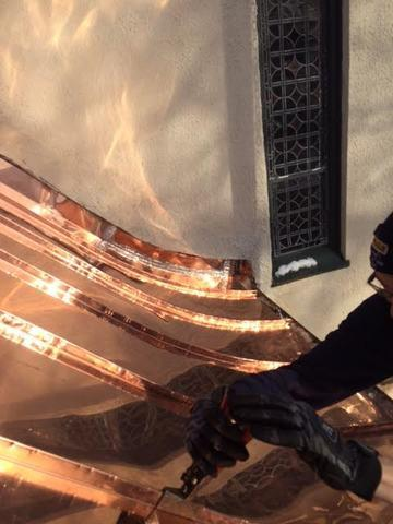 Once all of the copper panels have been installed, our crew will make sure that every seam is watertight to prevent any future leaks from occurring.