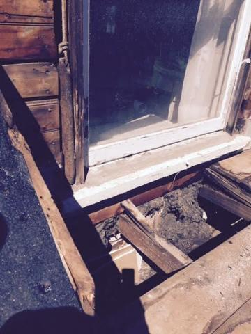 The damaged wood has been removed so that the new project can have a strong foundation.