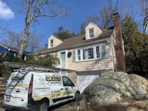 Asphalt shingle roof replacement in Needham, MA by roofing company.