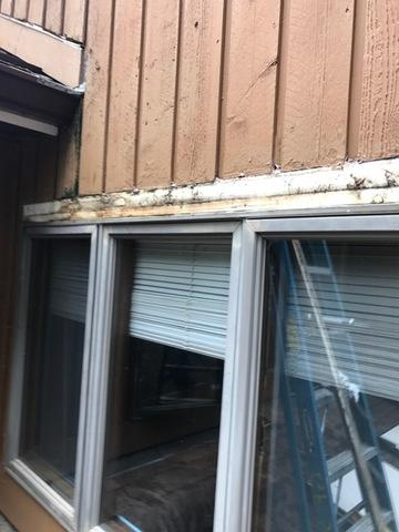 You can see the damage to the area above the window from the outside, and there was significant damage behind as well.