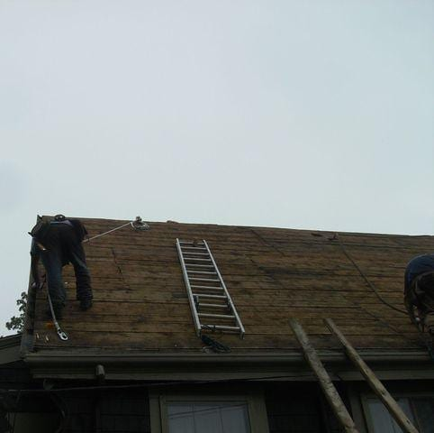 The first step our crew takes is completely removing the existing roof layers down to the wood, that way we can create a strong foundation for the new roof.