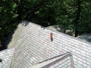 Slate roof replacement installed by roofing company in Needham, Newton, brookline, and Wellesley.