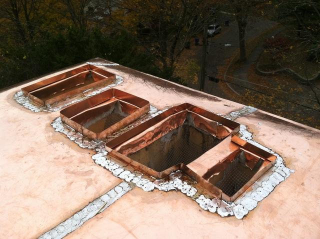 The new copper chimney cap has been installed, and leaks will be an issue of the past for these homeowners, They also get to enjoy the beautiful craftsmanship of the soldering work on this copper chimney, something our crew pride themselves on.