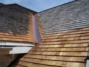 Wood shingle roof replacement installation in Needham, Newton, Brookline, and Wellesley.