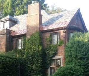 Brookline roofing contractor worked on slate roof.