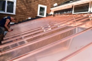 Copper panels installed by roofing company in Newton, Wellesley, Brookline, and Needham.
