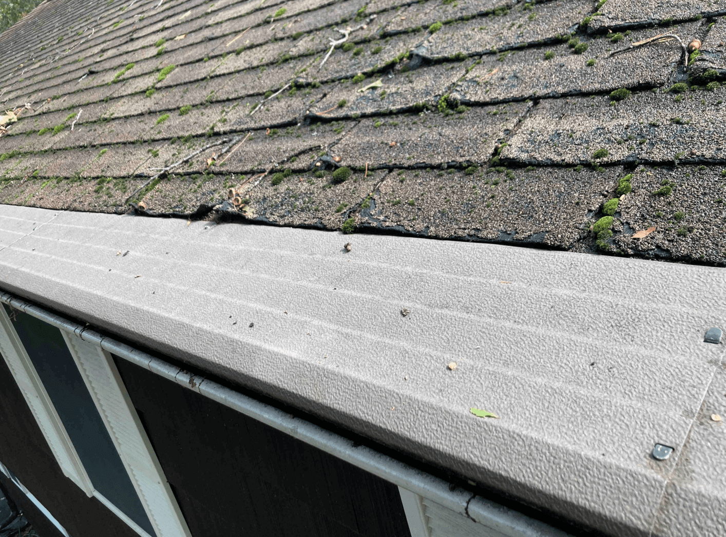 Crumbling asphalt shingles bordering the gutter cover. This is a recipe for disaster.