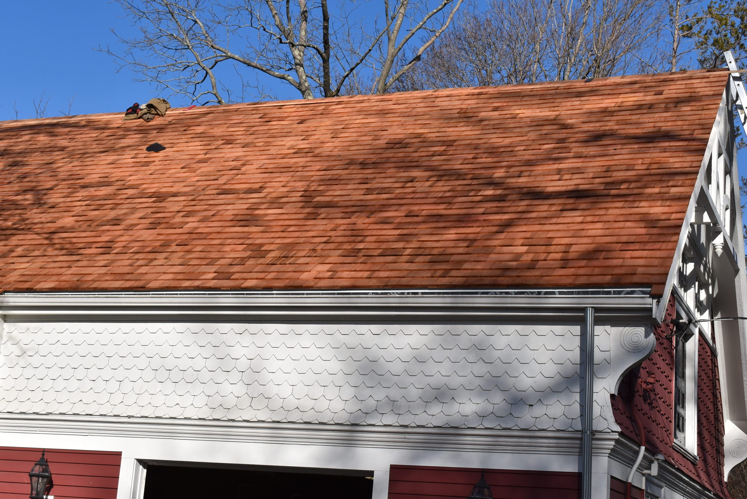 Gorgeous cedar shake roof installed in Milton, MA! Cedar shakes are a durable and stylish option for homes.