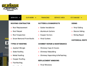 A homeowner research a local roofing contractor's website.